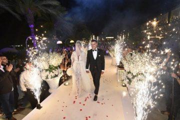 הזוג עדן ושימי בכניסה לחופה בגן האירועים הדריה